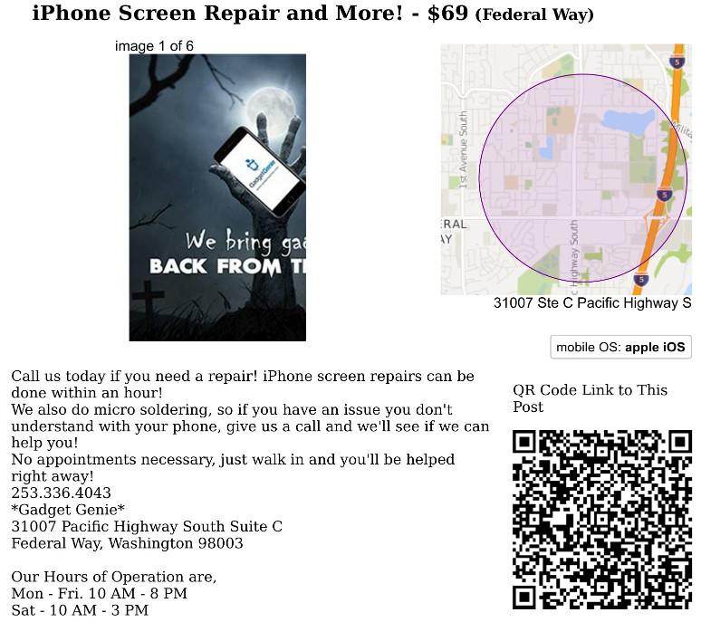 Phone repair ad